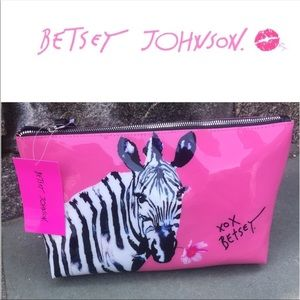NWT Betsey Johnson Pink-Colored Zebra Cosmetic Bag